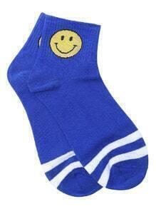 White Stripe Blue Emoji Print Ankle Sock