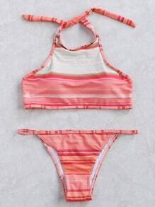 Red Striped Halter Bikini Set