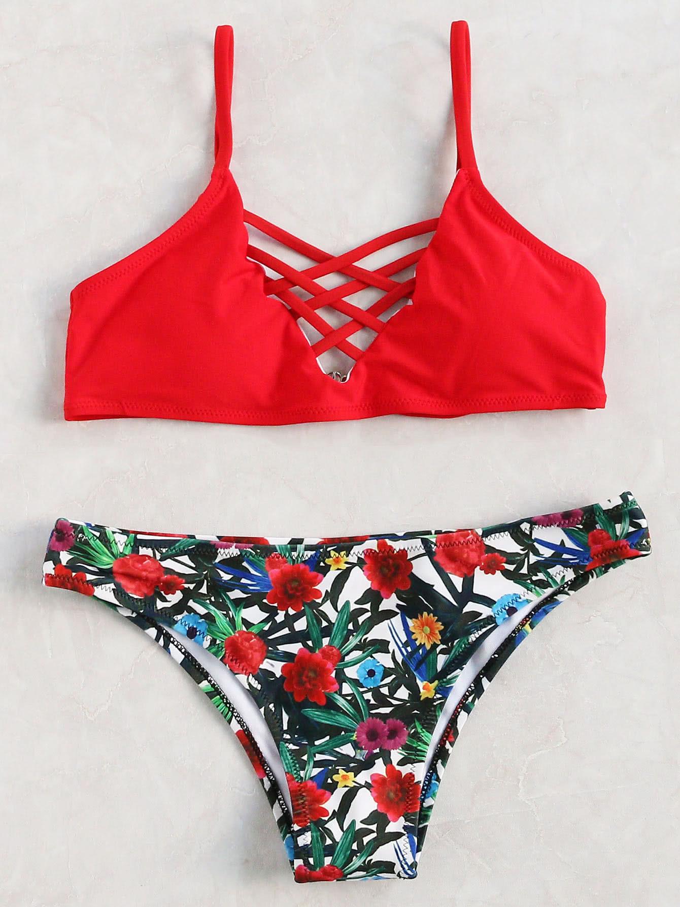 Collection de bikini imprim floral crois rouge french for Interieur paupiere inferieure rouge