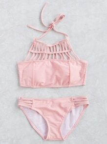 Pink Strappy Cutout Halter Bikini Set