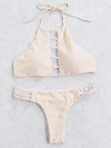Nude Cutout Detail Halter Bikini Set