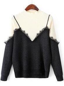 2 in 1 Pullover mit Wimper Detail-kontrastfarbe
