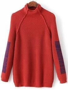 Red Color Block Mock Neck Raglan Sleeve Sweater