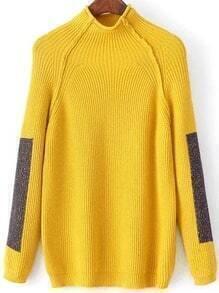Yellow Color Block Mock Neck Raglan Sleeve Sweater