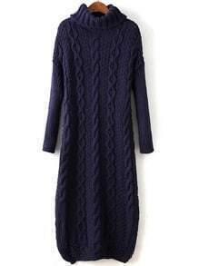 Navy Cable Knit Turtleneck Slit Maxi Sweater Dress