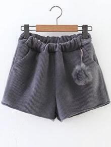 Grey Corduroy Shorts With Pom