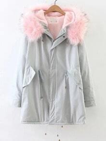 Light Blue Zipper Coat With Faux Fur Hooded