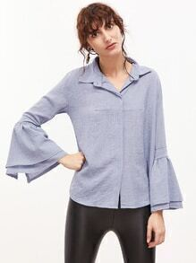 Light Blue Bell Sleeve Dip Hem Blouse