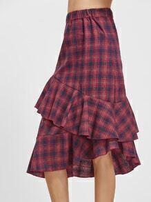 Tartan Plaid Elastic Waist Asymmetric Ruffle Skirt