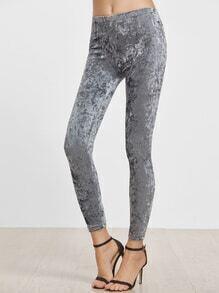 Grey Velvet Skinny Leggings