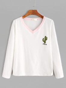 Ivory Contrast V Neck Cactus Print T-shirt