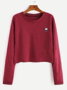 Burgundy Alien Embroidered Patch Crop Sweatshirt