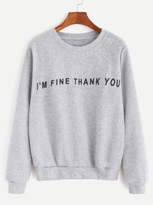 Pale Grey Slogan Print Casual Sweatshirt