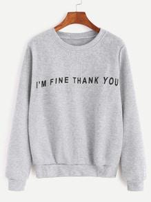 Pale Grey Slogan Print Casual Sweatshirt