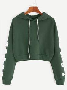 Green Letter Print Drawstring Hooded Crop Sweatshirt