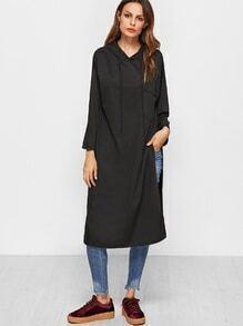 Black Slit Side Hooded Long Sweatshirt With Pocket