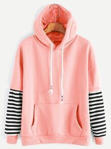 Pink Sleeve Striped Drawstring Hooded Sweatshirt With Pocket
