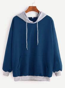 Blue Contrast Drop Shoulder Drawstring Hooded Pocket Sweatshirt