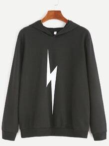Black Lightning Print Hooded Sweatshirt