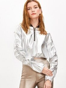 Silver PU Leather Contrast Collar Zip Detail Crop Sweatshirt