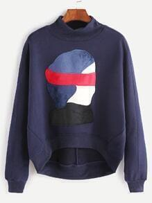 Navy High Neck Dip Hem Cartoon Patch Sweatshirt