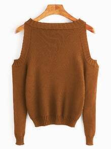 Brown Open Shoulder Long Sleeve Sweater