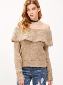 Light Khaki Off The Shoulder Ruffle Fuzzy Sweater