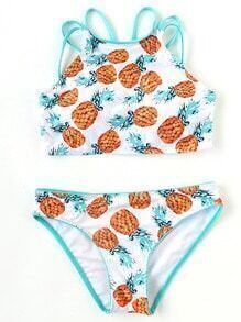 White Pineapple Print Push Up Bikini Set
