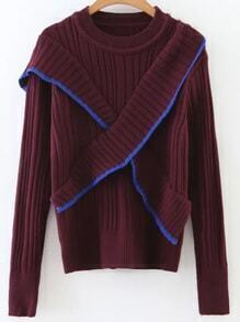 Burgundy Ribbed Cross Ruffle Sweater