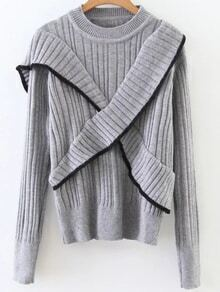 Grey Ribbed Cross Ruffle Sweater