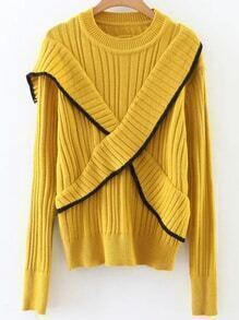 Yellow Ribbed Cross Ruffle Sweater