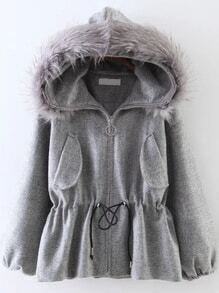 Grey Drawstring Waist Faux Fur Hooded Coat