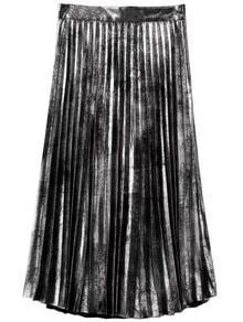 Silver Side Zipper Pleated Skirt