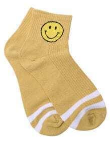 White Stripe Orange Emoji Print Ankle Sock