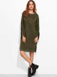 Dropped Shoulder Seam Sleeve Zip Detail Slit Sweatshirt Dress