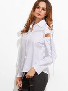 White Shoulder Cutout Bow Tie Blouse