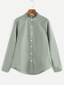 Light Green Band Collar Button Shirt