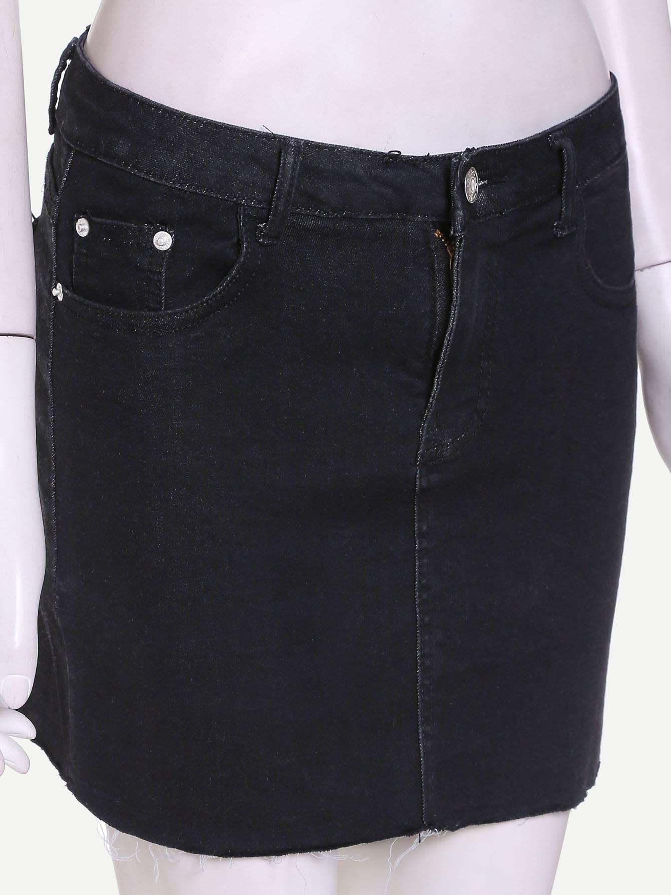 jupe moulant en jean avec poche noir french romwe. Black Bedroom Furniture Sets. Home Design Ideas