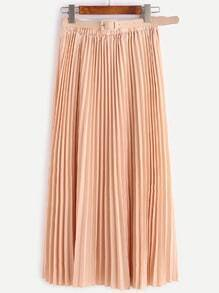 Light Khaki Belted Pleated Chiffon Skirt