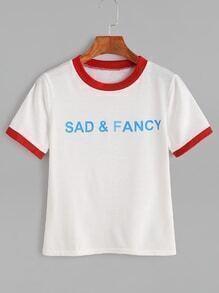 White Letter Print Contrast Trim T-shirt