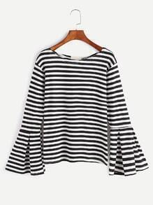 Black And White Striped Bell Sleeve T-shirt