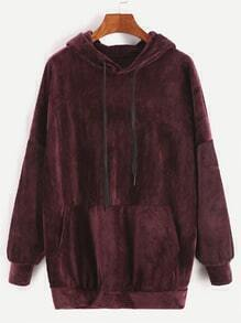 Burgundy Drop Shoulder Drawstring Hooded Pocket Velvet Sweatshirt