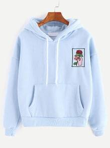 Sky Blue Drop Shoulder Hand Rose Embroidery Pocket Hoodie