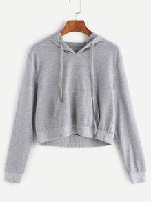 Grey Drawstring Hooded Crop Sweatshirt With Pocket