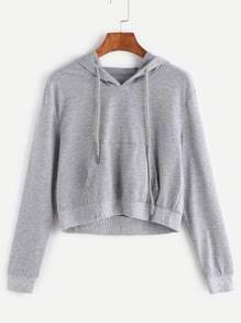 Grey Drawstring Hooded Crop Sweatshirt With Pocket