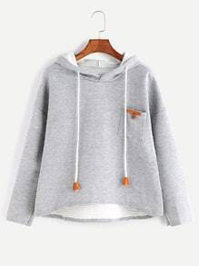 Pale Grey Dip Hem Patch Pocket Drawstring Textured Hoodie
