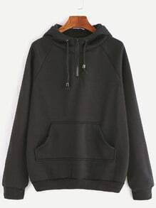 Black Raglan Sleeve Zipper Drawstring Hooded Pocket Sweatshirt