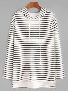 White Striped High Low Drawstring Hooded Sweatshirt