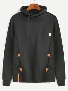 Black Patch Detail Drawstring Hooded Sweatshirt