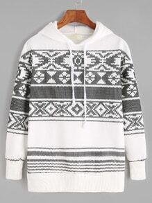 White Geo Print Drawstring Hooded Sweatshirt